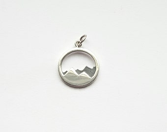 Sterling Silver Mountain Range Charm, Mountain Pendant, 15mm, Fast Shipping from USA