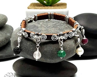 Sterling Silver Leather Purity Charm Bracelet/  Detachable Charm/ Gemstone and Pear/  Made to Order/ Sweet Sixteen/ Gift Idea for Girl