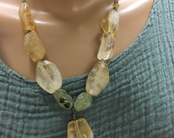 Citrine necklace Prehnite and Jasper-statement chunky necklace one of a kind necklace November stone