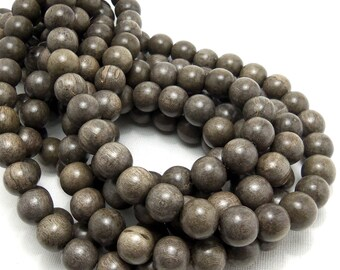 Graywood, 12mm, Round, Smooth, Natural Wood Beads, Full strand, Large, 36pcs - ID 1385