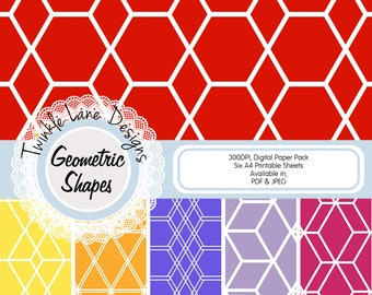 Hexagon Pattern, Digital Papers, Geometric Print, Brights, Six A4 Pages, Papercrafting, Lined Paper, Shapes, Vector Patterns, Printable