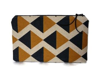 Pencil case, geometric pencil pouch, pencil case for men, mustard yellow pouch, makeup bag, cosmetics bag,  gadget pouch, zipper pouch