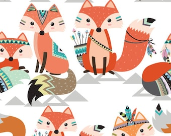 Fabric, Indian foxes, fox animal adventure