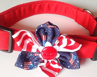 Red Patriotic Dog & Cat Collar with Red, White and Blue Flower or Bow Tie