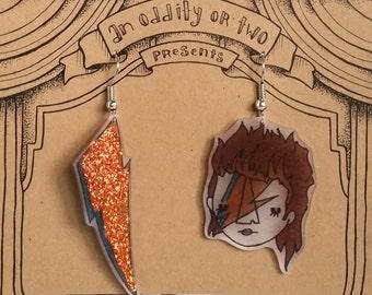 David Bowie Ziggy Stardust Shrink Plastic Earrings