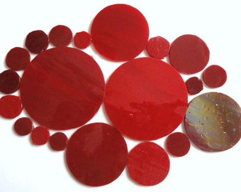 Hand Cut Cherry Red TIFFANY Stained Glass ROUND CIRCLES for Mosaics//Mosaic Supplies//Mosaic Pieces//Crafts