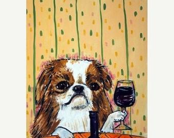 25% off Japanese Chin at the Wine Bar Dog Art Print signed modern folk giclee wine gift