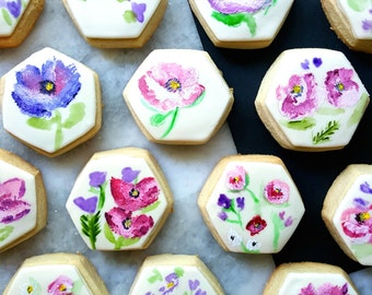 Violet Floral Hexagon Cookies