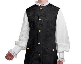 Adult Colonial Waistcoat, Brocade Long Vest, Walk Through Events, Colonial Days, Victorian, Pirates Events, Living History, Reenactment