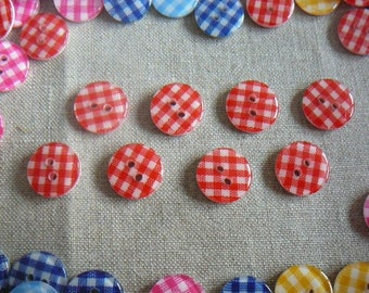 Buttons red gingham resin 13 mm, new, by 8.