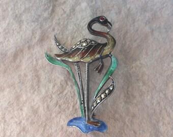 Vintage Sterling Silver Germany enamel flamingo brooch