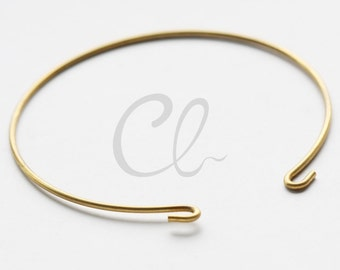 6 Pieces Raw Brass Cuff Bracelets - Bangle 65x1.4mm (1813C-U-253)