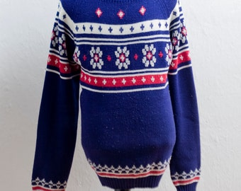 Men's Nordic Sweater / Vintage Norwegian Ski Sweater / Size XL Tall / Big and Tall