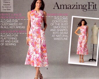 Simplicity 2174 Sewing Pattern, Uncut, Amazing Fit Fit-and-Flare Dress with Pockets, Misses 16-24