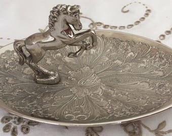 Vintage Seba Oval Silver Plated Horse Trinket/Nut Dish, Made in England