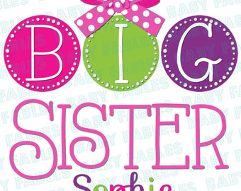 Personalized Big Brother Big Sister Iron on Transfer Dots Big Brother Big Sister Little Sister Bow Mustache Baby Announcement Heat Transfer
