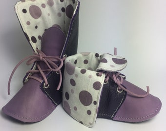 Lavender/Indigo Leather Baby Girl Booties, Soft Sole Baby Booties, Soft Leather Baby Girl Booties, Spring Baby Booties