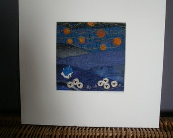Starry Starry Night/ Blue.  Original Textile Art.