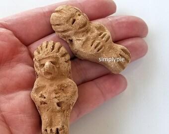 Aztec GOD Focal Clay Figures Statues 2 Pcs