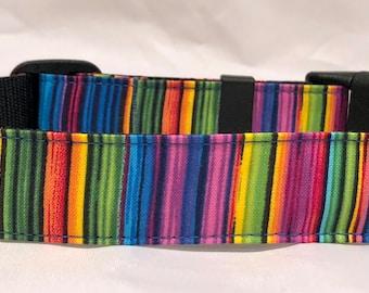 Dog Collar, Martingale Collar, Cat Collar - All Sizes -  Multi Pinstripe