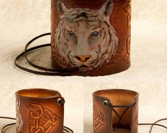 Mens genuine leather handmade gift for him tiger leather wristband, leather armband Biker's cuff Leather bracelet