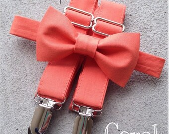 Coral Bow Tie and Suspender Set for men, boys, toddlers, and babies. Sent 1-3 business days after you order