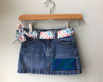 Girls Denim Skirt Size 6 with Oregon Tribal Native American wool Fabric applique  Native American Feather Ribbon Belt Kids Skirt