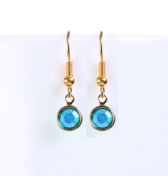 Bridesmaid gift - Petite blue zircon AB austrian crystal round gold dangle earrings (699)