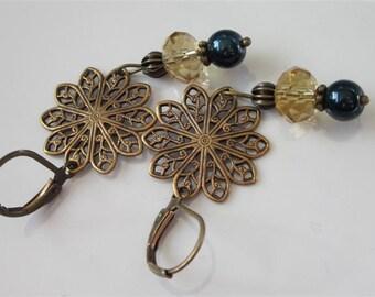 Filigree Earrings, Brass and Glass Dangle Earrings, Flower Jewelry, Brass Filigree Flower Earrings