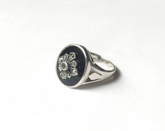Vintage ring sterling silver onyx black stone marcasite 925 art deco vibe 925 CW size 6