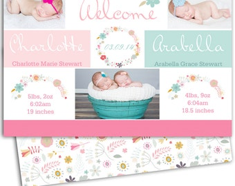 Twin Birth Announcement/Girl Twin Announcement/Photo Twin Birth Announcement/Birth Announcement and Background/Print yourself design