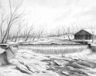 Custom Landscape Drawing, Landscape Art, Personalized Scenery, Nature Artwork, Original Charcoal Drawing From Your Photo