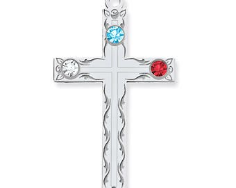 Custom-Made Family Birthstone Cross Pendant, 925 Sterling Silver, 1 to 5 Birthstones, Mother's Day Gift Idea, Grandmother's Silver Pendant