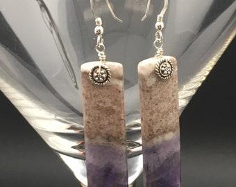 Chevron Amethyst Earrings, stone slice earrings, stone slabe earrings, anethyst earrings, earrings under 50