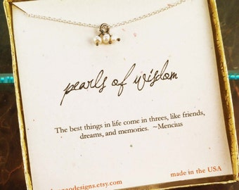 Pearls of Wisdom, inspirational, potential, affirmation gift, friend gift, graduation gift, pearl necklace, encouragement gift