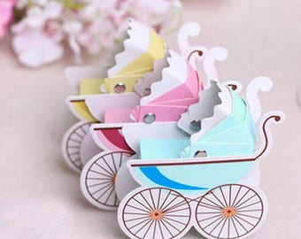 100pcs cute Baby stroller  carriage Wedding Party Favor box Candy Box baby shower sweet love box birthday party box