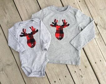 Cute Moose T-shirt or Onesie - Moose Red Plaid Lumberjack Pattern Applique on long-sleeved grey shirt or onesie