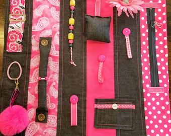 Fidget Quilt Alzheimers Activity Blanket Sensory Dementia Brain Trauma Tactile Lap Autistic Handmade Pink Denim