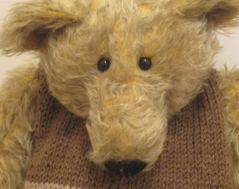 NEW PRICE Wilbur - a large OOAK hand stitched mohair artist bear.