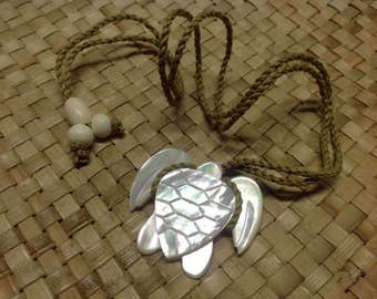 """Mother Of Pearl Shell Turtle With 26"""" Adjustable Necklace. Measures 40 mm wide x 35 mm in Length. Perfect For Male & Female Of All Ages!"""