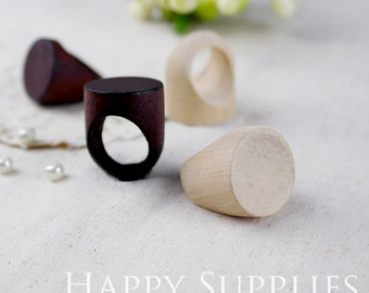5pcs Unfinished Wooden Rings with Flat Top (MT026)