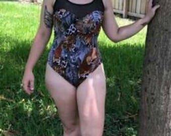 Mesh-Top Safari Animal 1pc Swimsuit