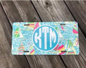 Monogrammed License Plate- Lilly Pulitzer License Plate- Preppy License Plate- Preppy Gift- Initial License Plate