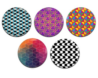 5x Geometric Patterns 25mm / 1 Inch D Pin Button Badges