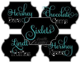 Wedding Candy Buffet Labels - You Print - ANY COLOR - Wedding   Candy Buffet   Candy Labels   Dessert Table   Candy Buffet Wedding Labels