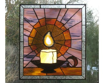 Burning Candle Stained Glass Panel Candlelight Amber Purple Faith Believe MADE to ORDER