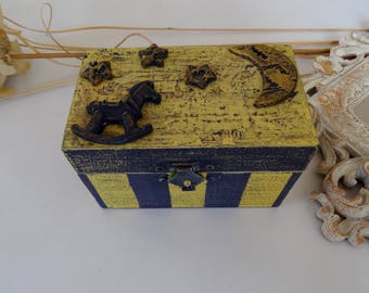 Starry Night Box,Kids Rocking Horse,Stars Moon Ornaments,Striped Purple Box,Horse Jewelry Box,Stars Jewelry Box,Striped Yellow Trinket  Box