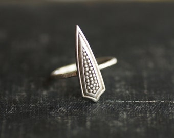Shield Ring - Sterling Silver - Size 8