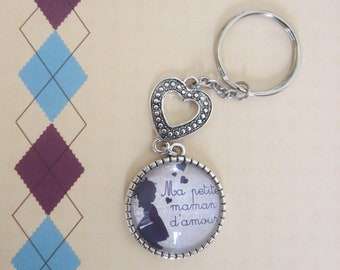 """Mother's day: gift for MOM -""My little love MOM""keychain"""