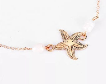 Silver or Gold Starfish Charm Anklet